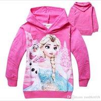 achat en gros de vêtements pour enfants encollage-Enfants Hoodies enfants Hoodies 95% coton filles manteaux cartoon Frozen 4 couleurs taille pour 2-7T enfants 2016 hiver automne vêtements pour enfants