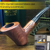activate imports - MUXIANG Tools Set Handmade Imported Rosewood Tobacco Pipe Hammer Flat Base Pipes mm Activate Carbon Filter Pipe Bent Men s Pipe ad0012