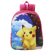 Wholesale Poke School Bags Pikachu Rose Color Backpacks Poke Anime Halloween Christmas Gifts E PACKET