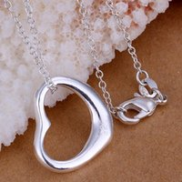 Wholesale Cheap Tibetan Jewelry - 2016 NEW Cheap Tibetan Jewelry Free Shipping 925 Sterling Silver Fashion Charm Heart Love Pendant Necklace P063 Home Decoration Hook