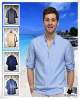 Wholesale 2016 Hot New Men Linen Cotton Shirt Casual Travel Folk Singlet Tops Comfortable Travel Vocation Shirt Beach Traditional clothing