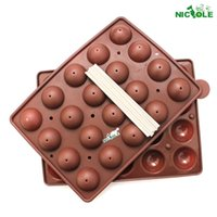 ball cake molds - 3D Ball Shaped Lollipop Silicone Molds Tray Cake Baking Ice Cube Tray hole round lollipops mold with stick