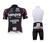 Wholesale Lampre black bib short sleeve cycling jerseys wear clothes bicycle bike riding jerseys bib pants shorts