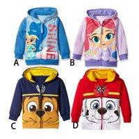 Wholesale 2016 NEW autumn Boys girls Ryder Patrol Dog Shimmer shine Hoodies Sweatshirts styles children princess Long sleeve Hoodied jacket