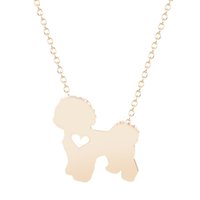 bichon gifts - 10pcs New Bichon with heart Necklace Handmade Dog Jewelry Pendant Necklace for Women Teen Girl