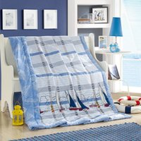 Wholesale fashion sailing boats mixed stripes summer quilt cm cm quilted thin bedding Blanket Plaids