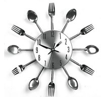 Wholesale Modern Design Metal Sliver Cutlery Kitchen Utensil Wall Clock Spoon Fork Clock Wall Clock Wholesales