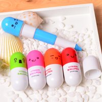 Wholesale Free DHL Customize Pill Shape Retractable Ball Point Pen Rollerball Pens Creative Stationery pen office and study ballpoint pen