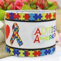 autism grosgrain ribbon - ribbon inch mm autism awareness printed grosgrain ribbon webbing yards roll for headband
