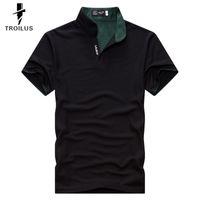 Wholesale Troilus Mens Cotton V Neck Solid Color Classic Color Splicing Collar Polo Shirts
