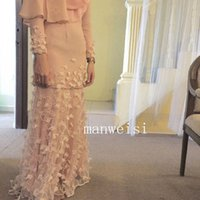 Wholesale 2016 Beautiful Muslim A Line Chiffon Wedding Dresses Appliques Long Sleeves High Neck Arabic Middle East Wedding Gowns Floor Length