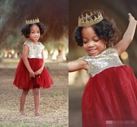 baby wearing wrap - Short Flower Girl Dresses Sparkly Gold Sequins Dark Red Tulle Knee Length Cap Sleeves Little Kids Baby Child Birthday Party Formal Wear