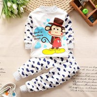 Wholesale Kids pajamas and pant sets pure cotton boys and girls cartoon long sleeve t shirt and pant sets colors autumn clothing