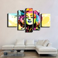 Wholesale Sexy Nude Wall Art - 5 piece canvas art pop art canvas marilyn monroe modern sexy nude oil painting on canvas wall picture for living room modern