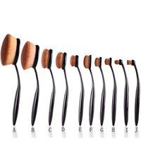 Wholesale freeshipping Make Up Oval Brushes Set Pro Beauty Toothbrush Shaped Foundation Power Eyebrow Eyeliner Lip Facial Makeup Brushes Tool