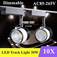 Wholesale 10X DHL LED Track Light W Dimmable COB Rail Light Spotlight strip Replace w Halogen Lamp v v v v v Tracking Light