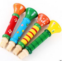 Wholesale Party Supplies Good quality Colorful Wooden Trumpet Buglet Hooter Bugle Educational Toy for Kid