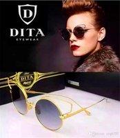 al por mayor gato ronda gafas de sol del ojo de oro-Dita femenina gafas de sol CREYENTE dita 23008 redondo retro gato forma ojos oro brillante de metal chapado en las mujeres de lentes de espejo diseñador de la marca