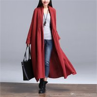 Wholesale Trench Coat New Women s Casual Outerwear Coat long sleeve long coat casual slim Solid color Single Button Women s Clothing
