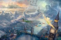 bell tech - High tech Thomas Kinkade HD Print Oil Painting Art On Canvas tinker bell and peter pan fly to neverland x36inch Unframed