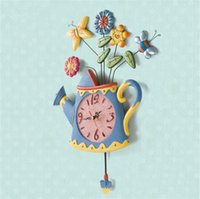 artists clocks - New Style Spring Water Pot Artist Vase Shape Home Decor Wall Clock