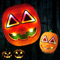 Wholesale 2016 Popular Halloween Performing props animated cartoon light Glowing pumpkin mask Terrorist pumpkin CM Luminous toy