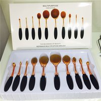 Wholesale Best set In the Box Beauty Toothbrush Shaped Foundation Power Makeup Oval Cream Puff Brushes sets gloden rose handle