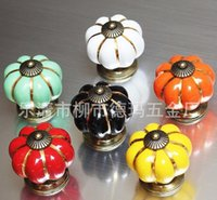 Wholesale New Furniture For Kitchen Ceramic Door Knobs Vintage Pumpkin Cabinet Drawer Cupboard Kitchen Pull Handles