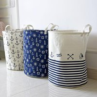 Wholesale 2016 new version anchor clothes basket dirty barrel folding clothes toys creative thickened storage laundry basket