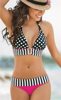 82% polyester, 18% Nylon bathing suits vintage - High Quality Sexy Fashion Retro Brazilian Swimsuit Beadage Women Vintage Stripe Swimwear Bikini Bathing Suit S M L XL