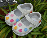 Wholesale children shoes girls shoes genuine leather kids white mary jane with multicolored polka dots flat sole retail