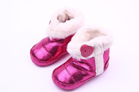 baby boots pattern - 2016 New Leather Baby Boots Shining Burst pattern Fur Heart Buckle Snow Baby Boots Mid Boots Fuxia Color Months