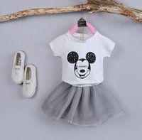 baby settings - Children s Pieces Cute Minne Set Short Sleeveless T Shirt Plaid Shorts Girls Suit Baby Girls New Cartoon Settings New Summer