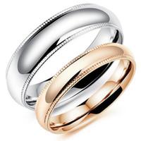 Estilo simple de 18 quilates de oro rosa / anillo de los pares de plata para la boda joyería del contrato del acero inoxidable de alta calidad superior polaca GJ504