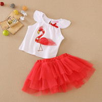Wholesale Baby Girls Cartoon Sets New Babies Infants Flamingos T shirt Tulle TUTU Skirt Suits Kids Newborn Outfits Children Clothing B041