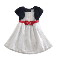 Wholesale Brand New kids dress cotton polyester white navy red bag