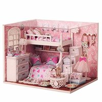 Wholesale Kits DIY Wood Dollhouse miniature with Furniture Doll house room Angel Dream