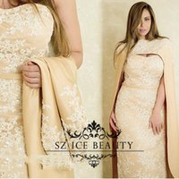 beaded clock - Saudi Arabia Long Champagne Evening Dresses With Clock Jacket White Appliques Beaded New Mermaid Prom Dress Formal Gowns