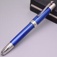 Wholesale Luxury MB Jules Verne Writer Ddition Ocean Blue Metal Rollerball Pen Stationery Writing Pen Silver Clip For Gifts