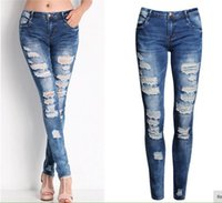 Wholesale Brand New Fashion Holes Jeans for Women Demin Long Pants Lady Mid Waist Jeans Drop Shipping