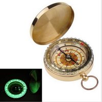 Wholesale Metal Brass Luminous Pocket Watch Style Camping Compass Outdoor Tools Outdoor Camping Hiking Portable Brass Pocket b129