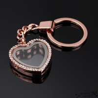 antique locket rings - 2016 New Design Key Chain Key ring Fashion Heart Round Zinc Alloy Glass Locket Memory Charm