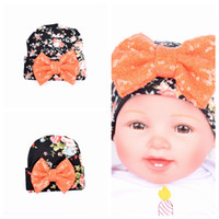 baby girl knit hat pattern - New Baby Girls Headbands Europe Style Pattern of Oversized bow knit Flange cap Baby Hat headwear colors Children Hair Accessories