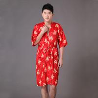 Wholesale Hot Sale Red Summer Men s Silk Robe Gown Chinese Style Rayon Bathrobe Sleepwear Kimono With Belt Size S M L XL XXL XXXL MP038