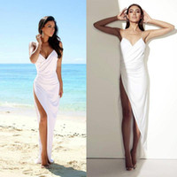 Wholesale Sexy White Thigh High Slits Wedding Dresses Sheath Spaghetti Strap Backless Beach Bridal Gowns Plus Size Custom Made