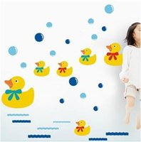 bathtub shower glass - A generation of fat Fridge Bathroom Shower Bathtub Glass Kitchen Restaurant Wall Stickers ducklings swimming AY644
