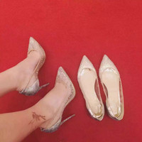 beautiful points - Dress party weeding shoes Heel high cm High density net cloth mesh with diamond vamp genuine leather tread especially beautiful ladyshoe