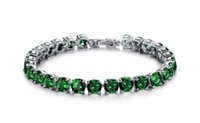 Wholesale Bracelet Top AAA Cubic Zirconia Shine Green Colorful Copper Platinum Jewerly Elegent Luxury Superior Quality Bracelets for Girls Woman