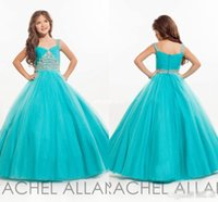 Wholesale Cheap Long Girls Pageant Dresses for Teens Ball Gown Beaded Spaghetti Sky Blue Tulle Little Baby Party Birthday Gowns Flower Girl Dress