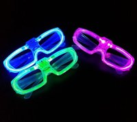 Wholesale party Led shutter glow cold light glasses light up shades flash rave luminous glasses Christmas favors cheer atmosphere props colorful